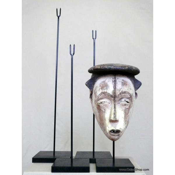 socle pour masque en bois 32 cm africain tribal
