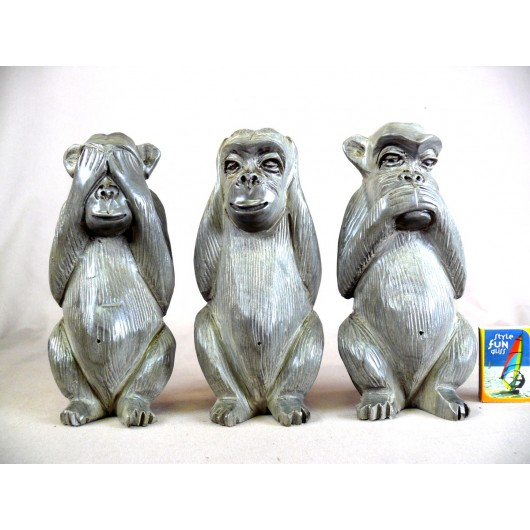 Les Trois Singes en ébène gris